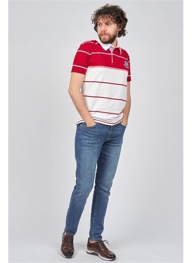 Arslanlı Arslanlı Erkek Blok Desenli Polo Yaka T-Shirt  Kırmızı